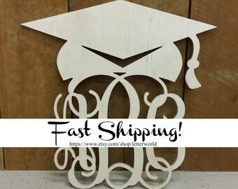 Unpainted Wooden Monogram - Graduation Door Hanger - Gift for the Graduate - Graduation Party Decor - Graduate Wreath
