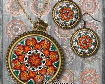 Mandalas, Digital Collage Sheet, 20, 18, 16, 14, 12 mm circles, printable images for earrings, rings, jewelry making, Peach, Green (KM02-c)