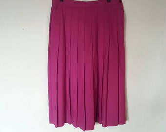 Hot Pink/Fuschia Pleated Midi Skirt // M