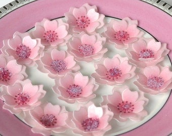 Edible Cherry Blossom 3D Flowers x 24 Pastel Pink Japanese Wafer Rice Paper Wedding Cake Decorations Cupcake Cookie Toppers Birthday Favours