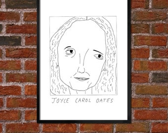 Badly Drawn Joyce Carol Oates - Literary Poster - *** BUY 4, GET A 5th FREE***