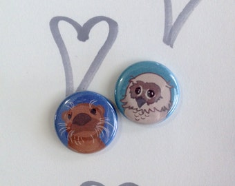 Otter & Owl Mascot Pin Back Buttons. Single button. Size - 1 inch.