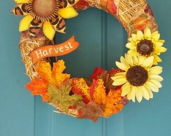 Sunflower Harvest Wreath, Fall Wreath, Autumn Wreath, Sunflower Wreath,