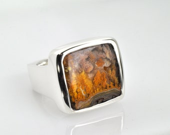Large Oregon Flower Plume Silica Ring set in Sterling Silver
