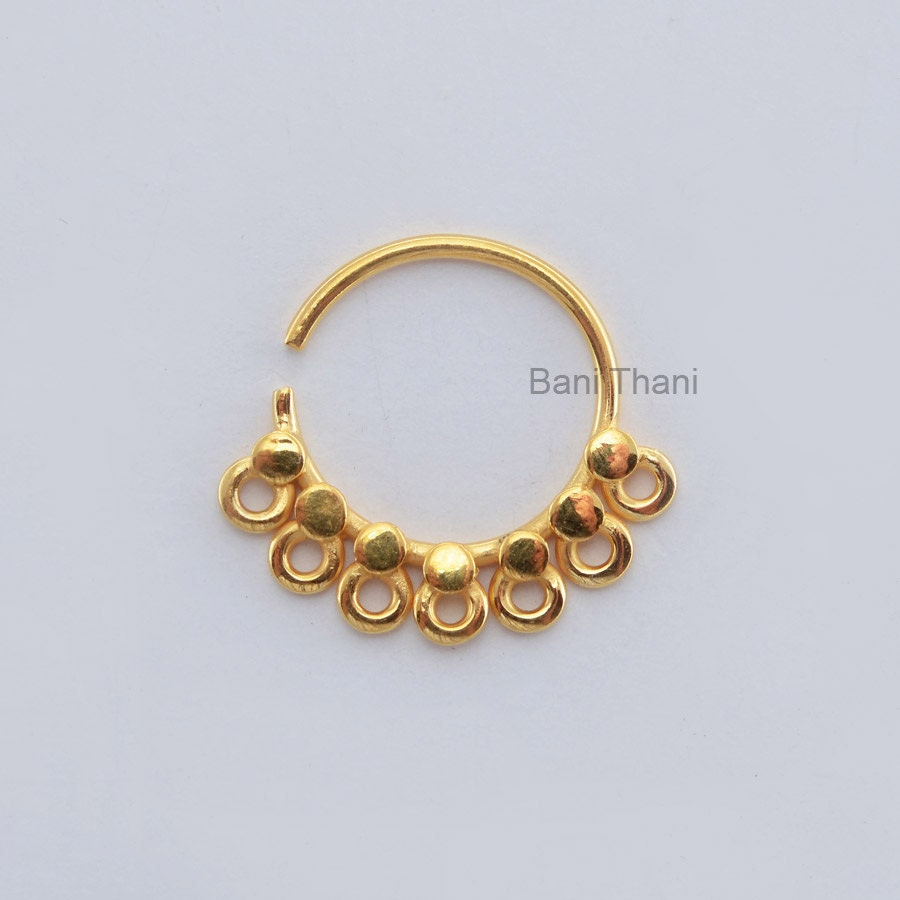 handmade gold plated 925 sterling silver nose ring septum