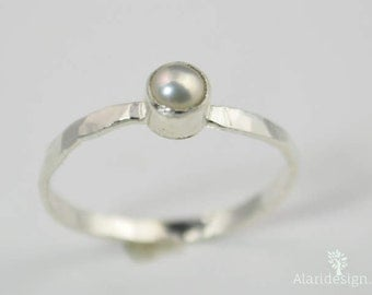 Small Silver Pearl Ring, Pure Pearl Ring, Mothers Ring, Pearl Jewelry, Natural Pearl, June Birthstone Ring, White Pearl Ring