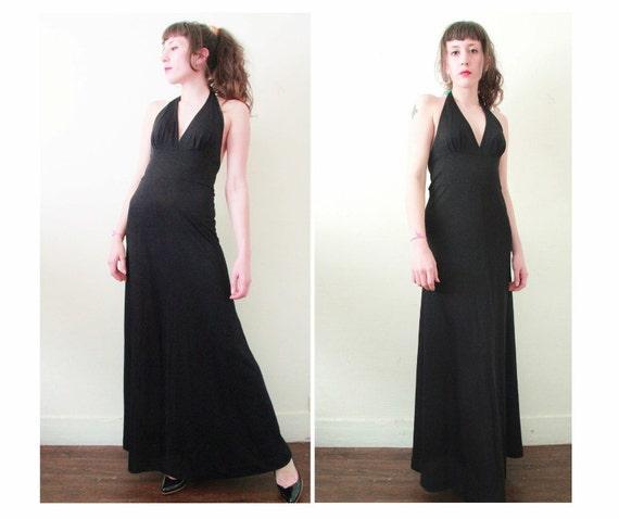 robe longue dos nu ann es 70 maxi robe de soir e habill e. Black Bedroom Furniture Sets. Home Design Ideas