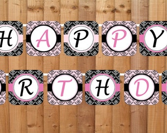 Pink Paris Happy Birthday Banner- INSTANT DOWNLOAD - Printable Party Decorations