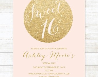 pink gold sweet 16 birthday invitation, sweet sixteen invitation, pink gold glitter invitation digital invite customizable