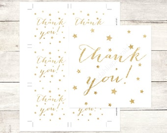 gold twinkle star baby shower favor tags, gold glitter favour tags baby shower thank you cards - INSTANT DOWNLOAD