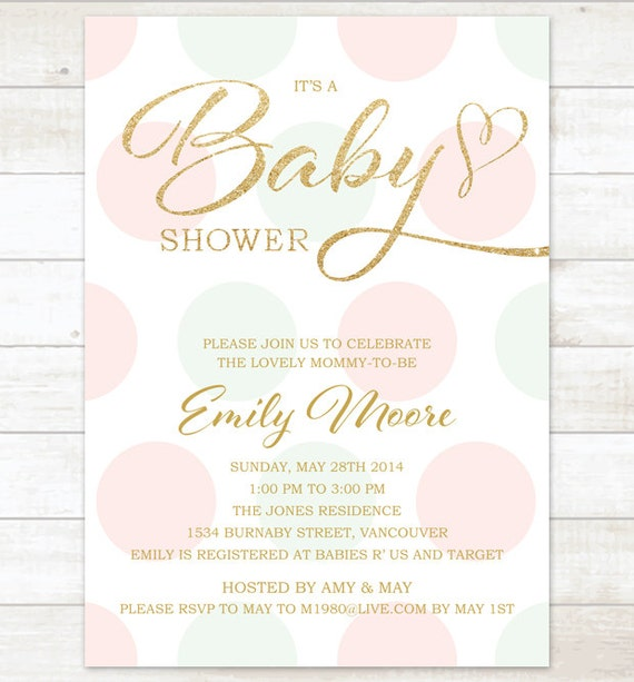 Pink Mint Gold Baby Girl Shower Invitation Pink Mint Gold