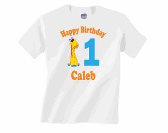 Personalized birthday shirt. ANY AGE! Giraffe birthday shirt. Jungle birthday shirt. 1st birthday shirt. First birthday. Pink pig printing.