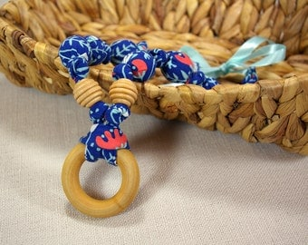 Natural Fabric Teething Necklace with Wood Ring - Blue Floral