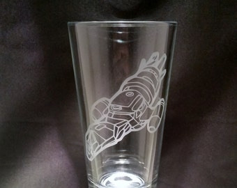 Firefly Serenity Etched pint glass Firefly inspired pint glass of the ship serenity