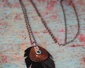 Leather Feather Chain Necklace // Leather Feather Jewelry with Train Smashed Penny and Swarovski Crystal // Customizable