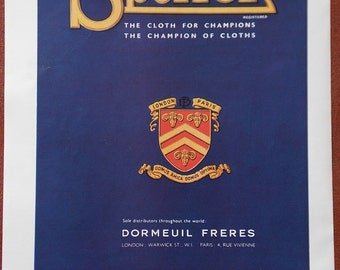 Vintage 1951 french Sportex by Dormeuil London Paris/Omega Watches advert