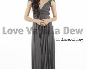 Bridesmaid Dress Infinity Dress Charcoal Grey Floor Length Maxi Wrap Convertible Dress Wedding Dress