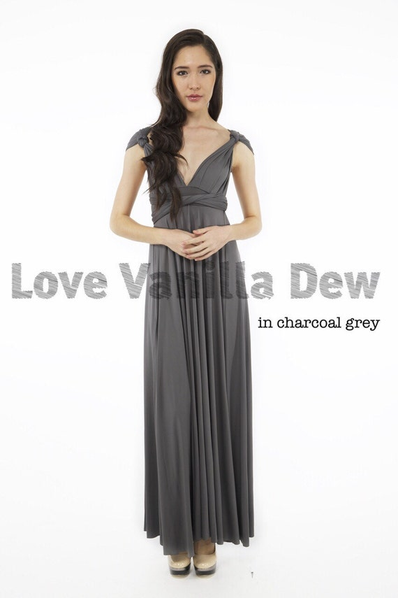 Bridesmaid dress infinity dress charcoal grey by for Charcoal dresses for weddings