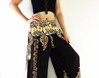 Thai Women Harem Pants Yoga Pants Aladdin Pants Maxi Pants Baggy Pants Gypsy Pants Rayon Pants Hippy Pants Trouser Flower Dark Brown (TS108)