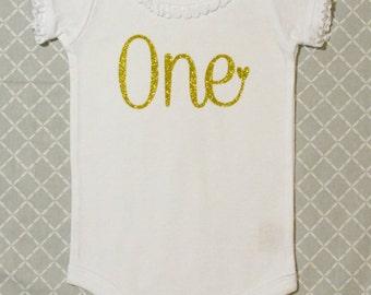 Lovely Girls Birthday Onesie (Gold Glitter)