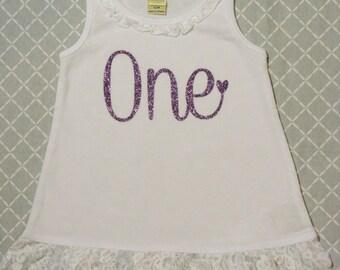 Lovely Girls Birthday Lace Dress (Lavender Glitter)