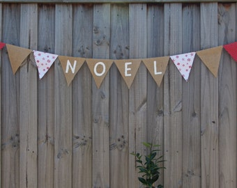 Christmas cotton and Hessian NOEL bunting banner.