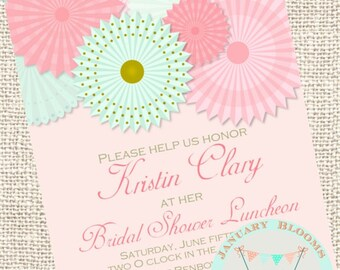 Pinwheel, paper Rosettes, mint and coral bridal shower invitation DIGITAL DOWNLOAD