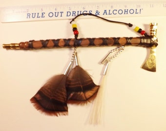 Mini tomahawk pipe leather wrapped seed beads native inspired decor