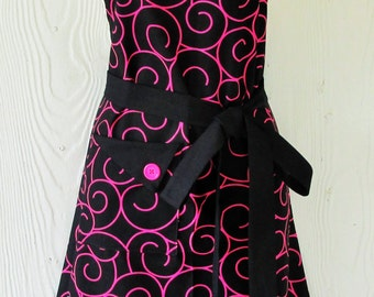 Black and Pink Apron, Womens Full Apron, Retro Style Apron, KitschNStyle