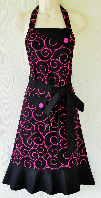black and pink apron womens full apron retro style apron. Black Bedroom Furniture Sets. Home Design Ideas