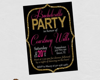 Bachelorette Party Bridal Party Invitation - FREE SHIPPING