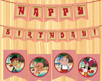 INSTANT DOWNLOAD - Jake & the Neverland Pirates Party Banner
