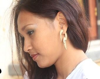Cheater Earrings Fake Piercing, Fake Guages Wood Earring, Tamarind Wood