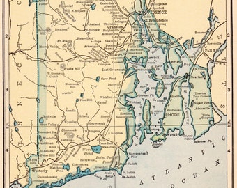 Vintage 1923 Rhode Island Us Map 1923 Original Print Neat Collectible Atlas Map Wall Art Gallery