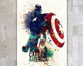 Captain America Marvel Comics Watercolor Digital poster A3 Avengers Wall Decor The Avengers poster download  Wall Art print Home Decor GD-20