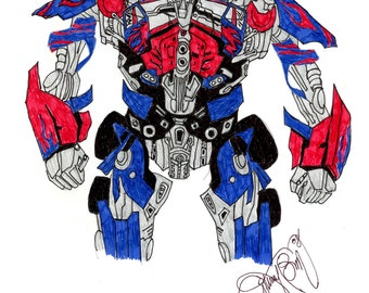 Transformers Movie Drawing Alien Robot Art Pen Drawing Trans Formers Blue Red Black White Autobots Decepticons Autobot Decepticon