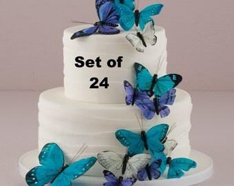 Wedding Cake Topper - Blue Butterfly Cake Set - Weddings - Cake Topper - Feather Butterflies - Garden Wedding - Woodland Wedding