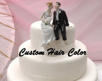 Personalized Wedding Cake Topper - Wedding Couple - Whimsical Sitting Bride and Groom Cake Topper - Weddings - Cake Topper - Romantic