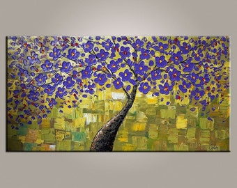 XL Oil Painting, Canvas Art, Framed Art, Original Art, Abstract Art, Canvas Painting, Flower Tree Painting, Original Painting, Wall Art