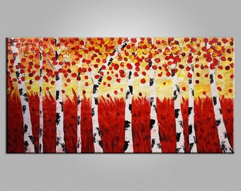 Large Oil Painting Birch Tree Painting Canvas Painting Framed Art Original Wall Art Abstract Art Impasto Painting Landscape Canvas Painting