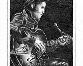 ORIGINAL 'Elvis Presley' Graphite Portrait. Hand Drawn on Canson, Watercolour Paper by Artist Layce.