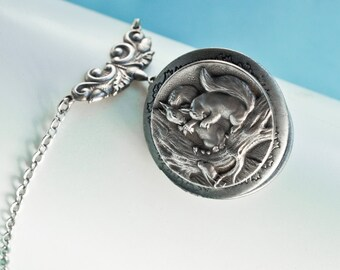Squirrel Locket, Locket Necklace, Vintage Locket Necklace, Secret Locket, Squirrel Pendant, Jewelry, Holiday Gifts