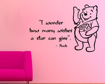 Winnie The Pooh Wall Decals Children Quotes I Wonder How Many Wishes A Star Can Give Vinyl Sticker Baby Kids Boy Nursery Room Decor KG653