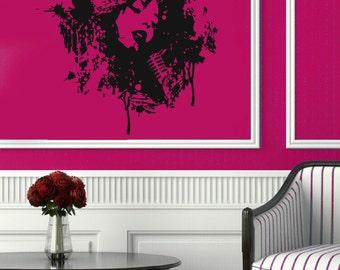 Singer Wall Decals Woman Face Microphone Music Shop Vinyl Decal Sticker Home Decor Wall Art Mural Interior Design Girl Nursery Decor KG454