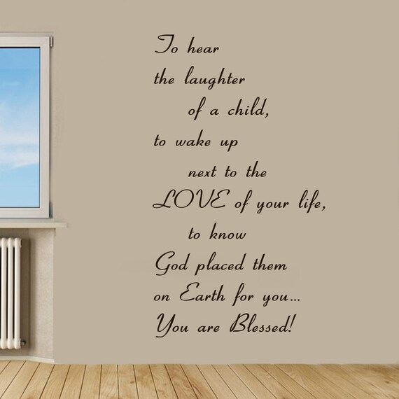 Family wall decals prayer words god quote you are blessed love for Living room wall quote ideas