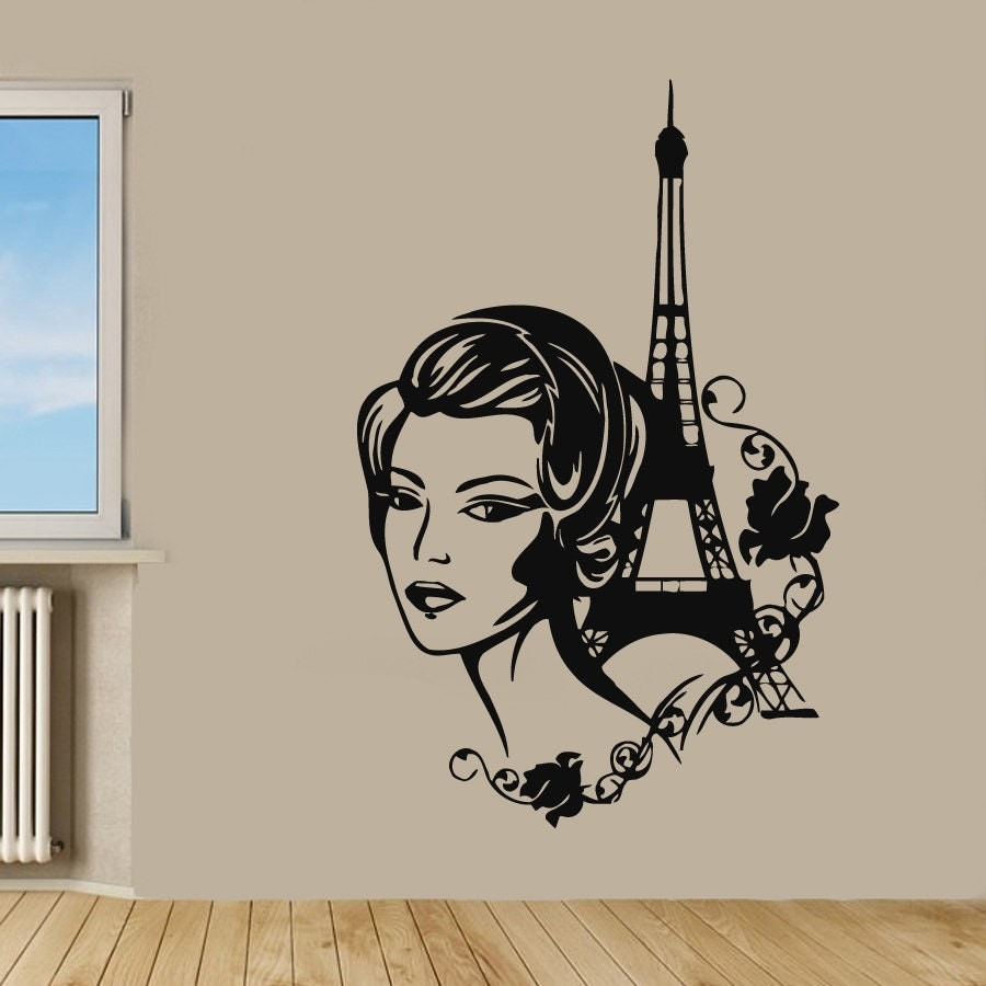 paris wall decals eiffel tower stickers fashion girl beauty. Black Bedroom Furniture Sets. Home Design Ideas