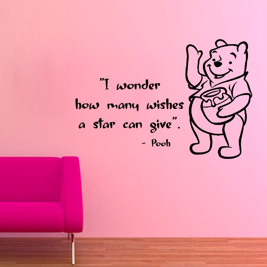 Winnie the pooh wall decals children quotes i wonder how many zoom amipublicfo Images