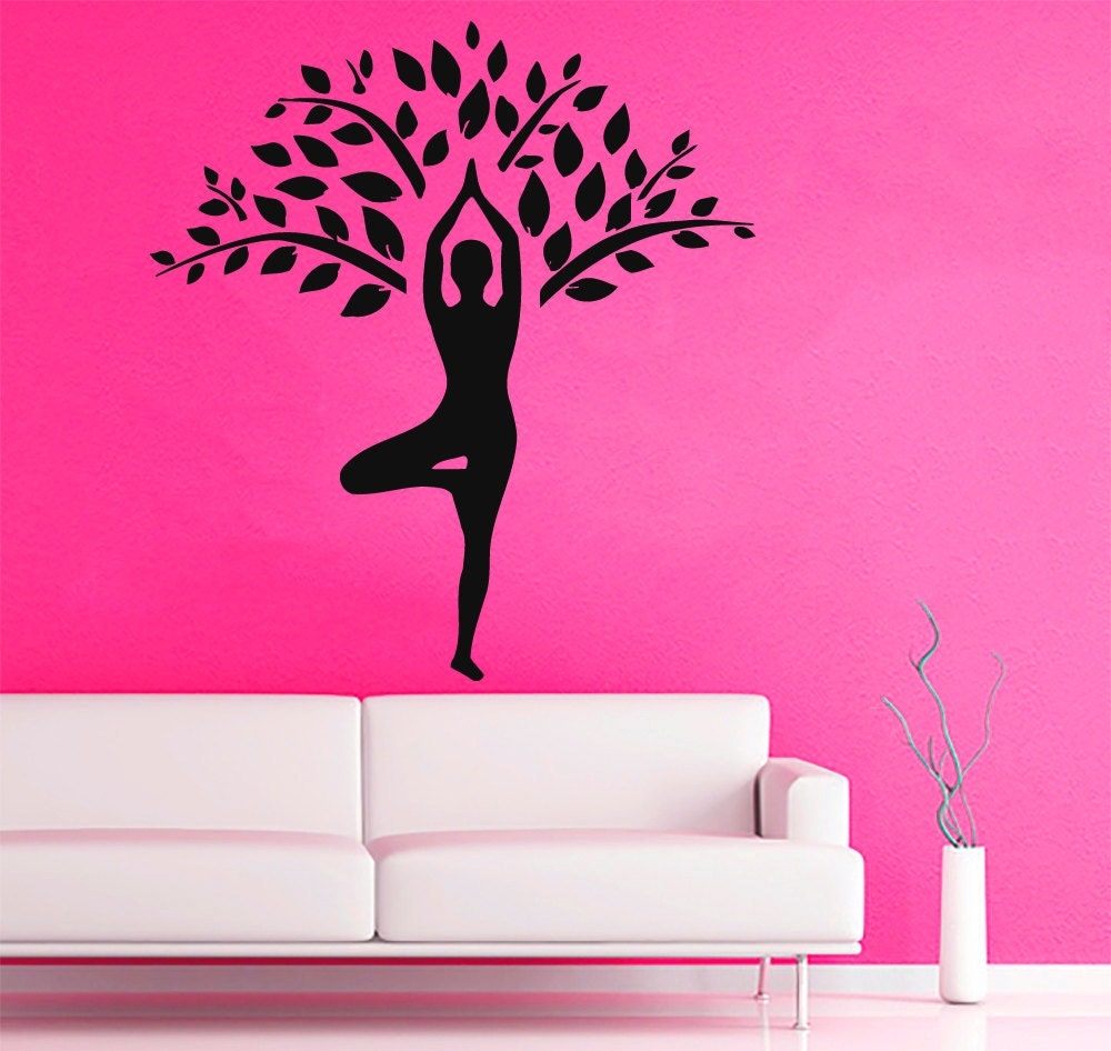 Yoga Wall Art yoga wall decals tree design stickers girl meditation gym
