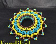 Edm Festival 3D Kandi Cuff Blue,Brown&Yellow