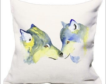 Cushions with wolves on, wolf art, wolves on cushions, paintings of wolves, animal cushions, green cushions, watercolor pillows, dylshouse